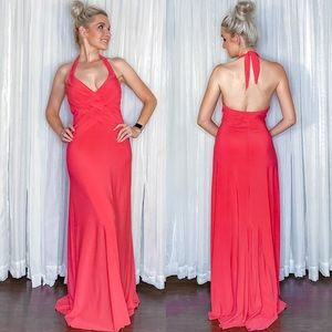 Coral Fitted Pageant Prom Homecoming Dress